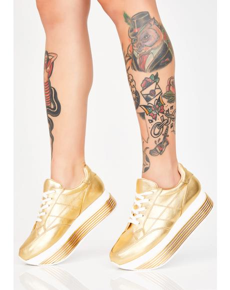 Struck Gold Platform Sneakers