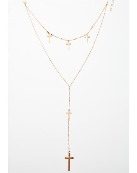 Say A Prayer Lariat Necklace