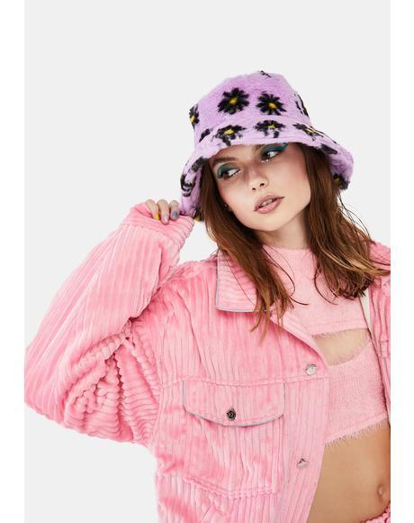Lilac Daisy Daydreams Faux Fur Bucket Hat