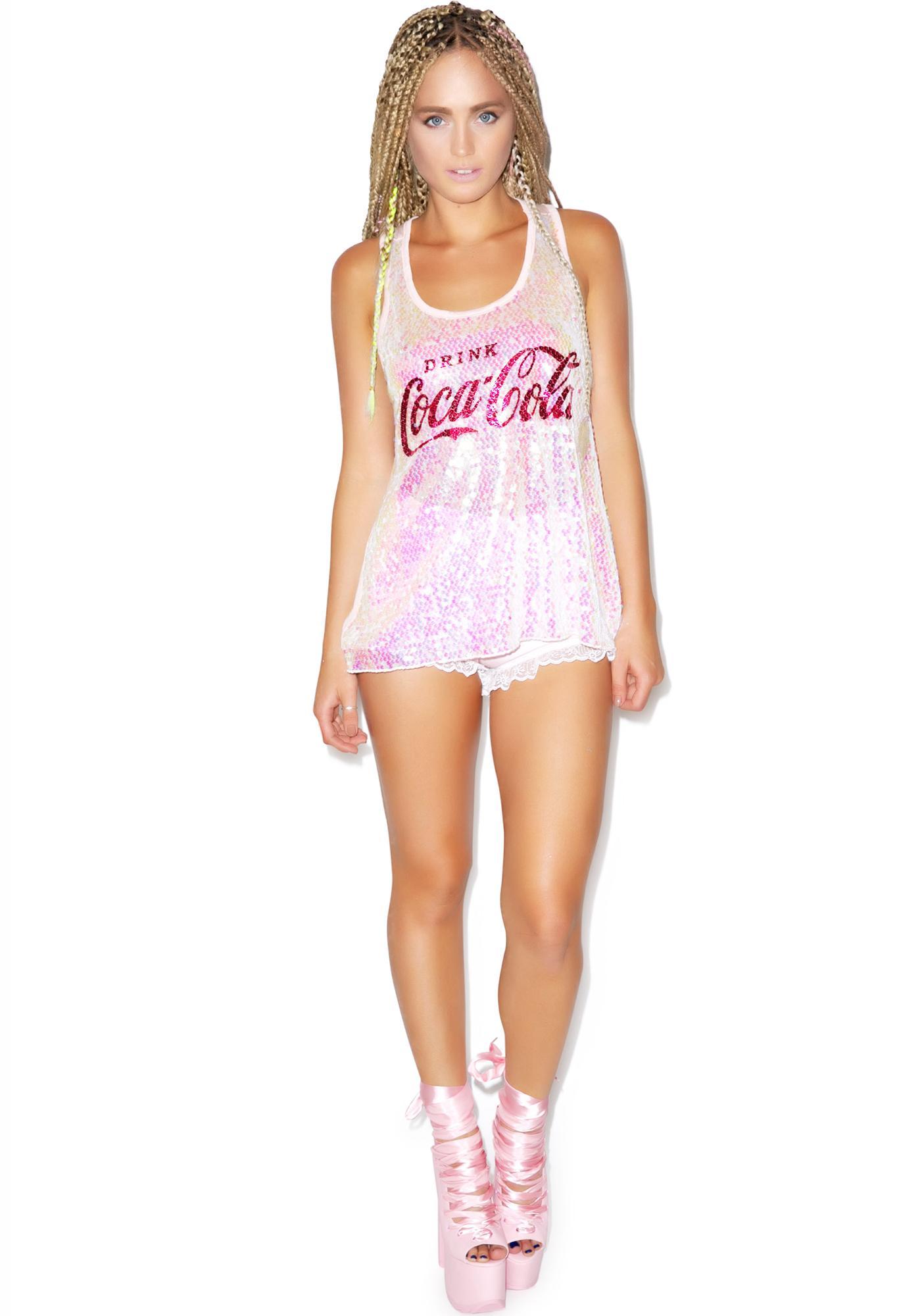 Drink Coca Cola Long Sequin Tank