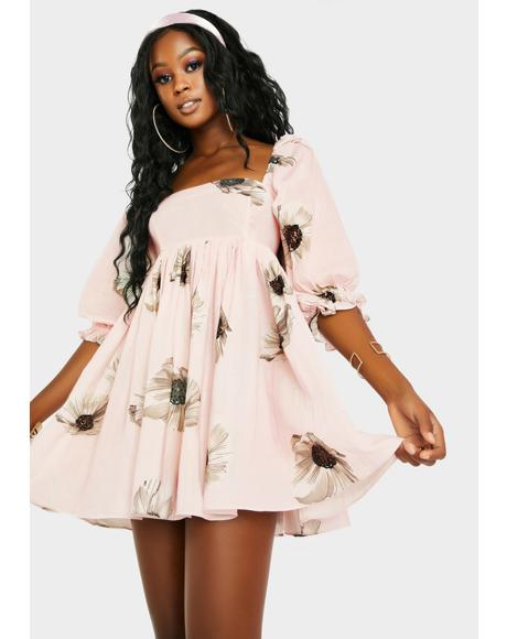 The Pink Daisy Puff Dress