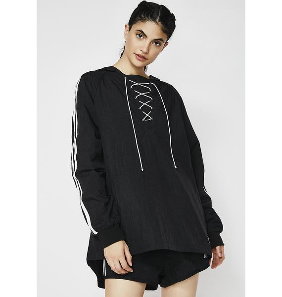 JUICY COUTURE Nylon Lace-Up Side Stripe Pullover