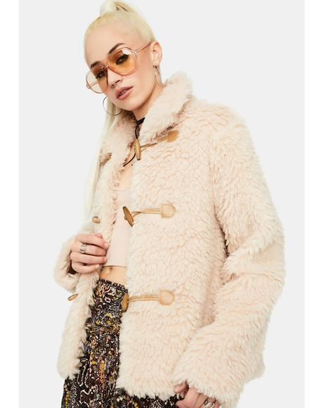Beige Toggle Teddy Coat