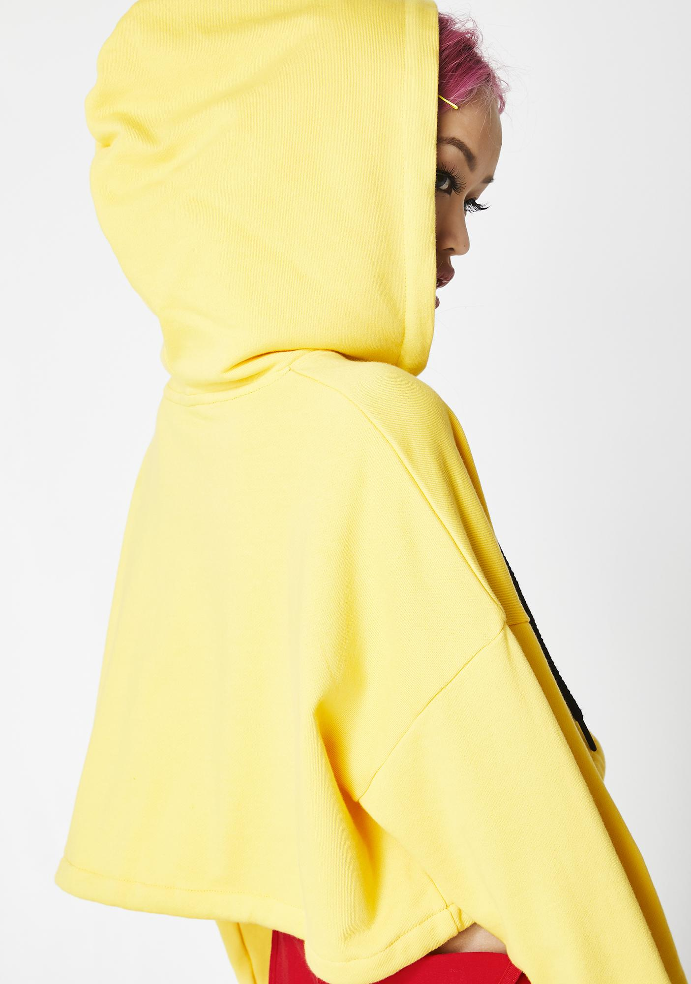 Lazy Oaf Yellow Cropped Hoodie