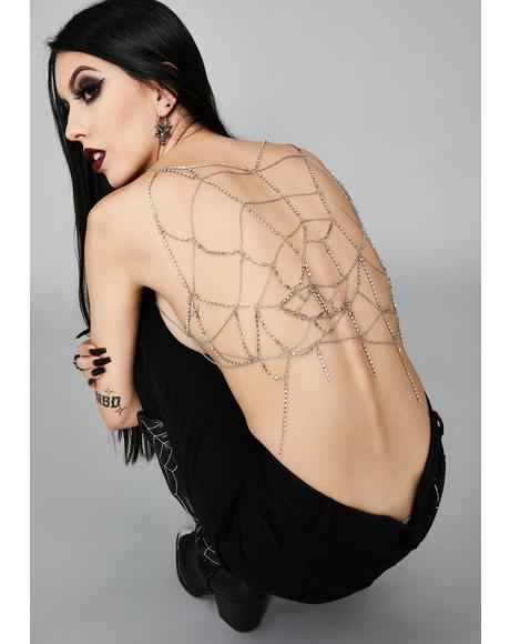 The Dark Web Rhinestone Harness Top