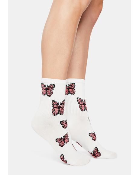 Lady Wings Of Mine Butterfly Print Crew Socks