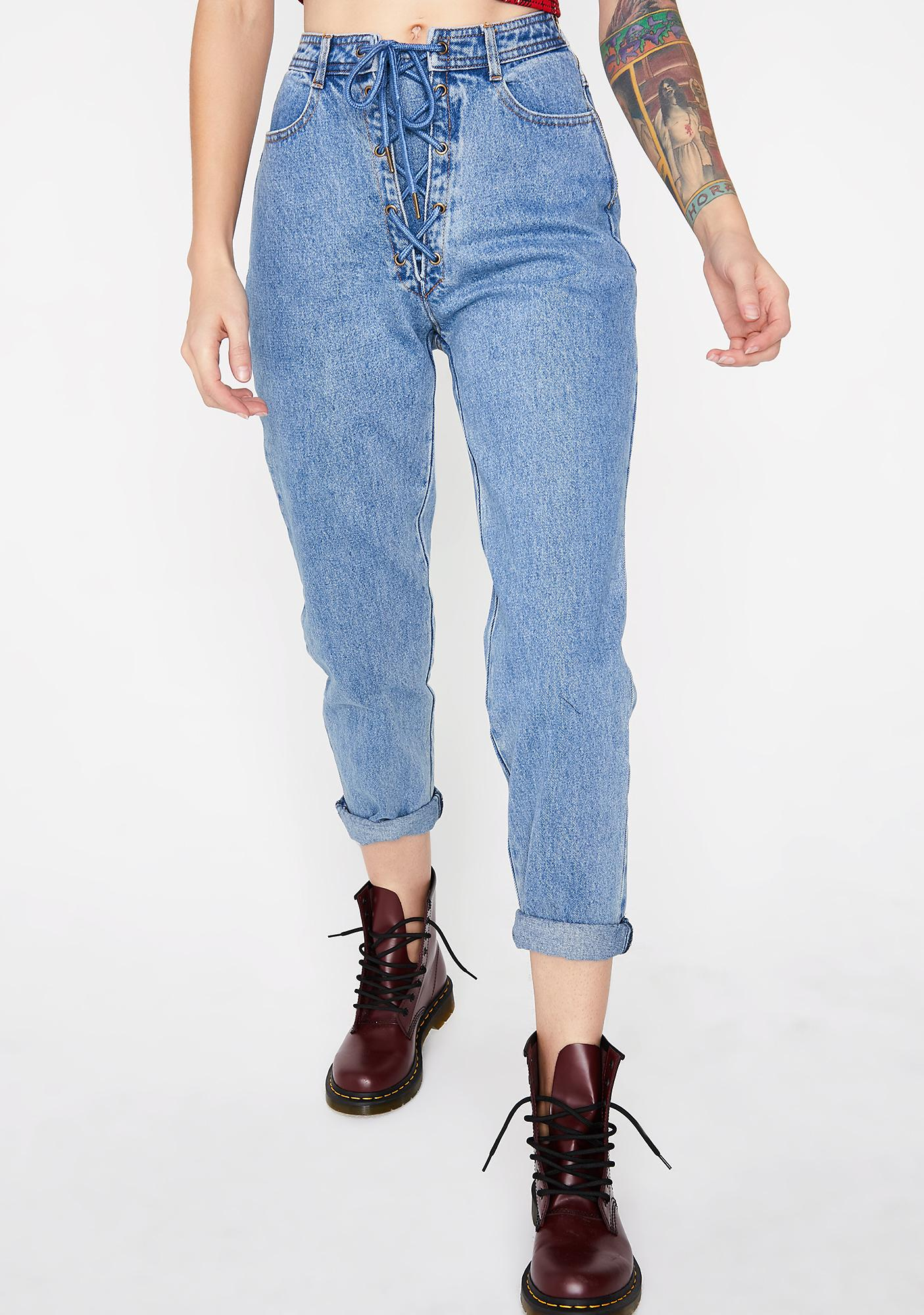 Throwback Lace-Up Jeans