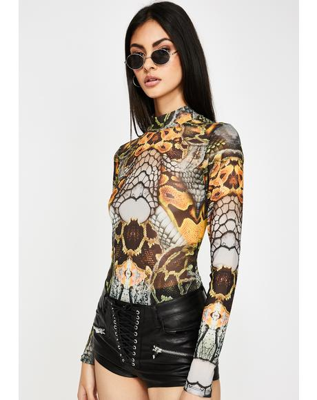 Snake Print High Neck Mesh Bodysuit