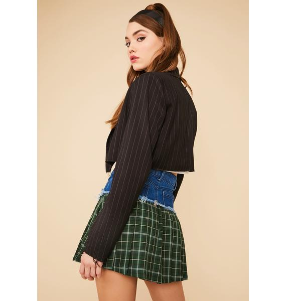 Ivy Barbed Wire Babe Plaid Paneled Skirt