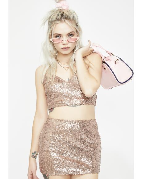 Champagne Fun Nights Sequin Skirt