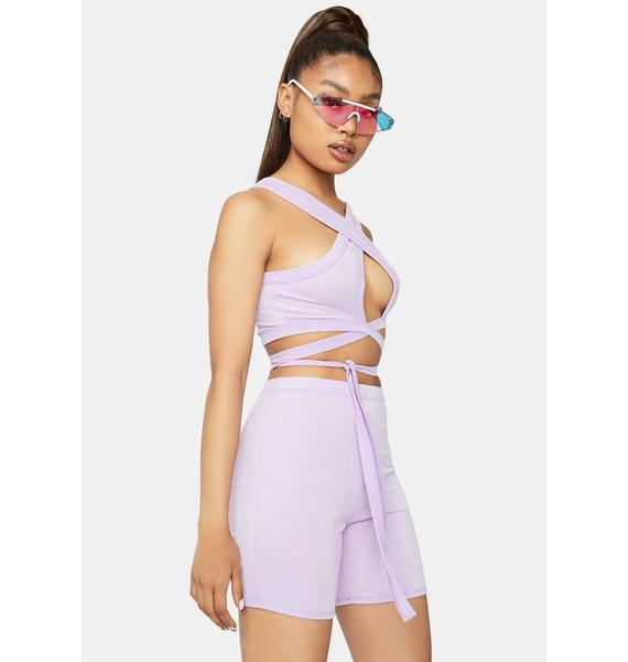 Young Hearts Wrap Top And Shorts Set