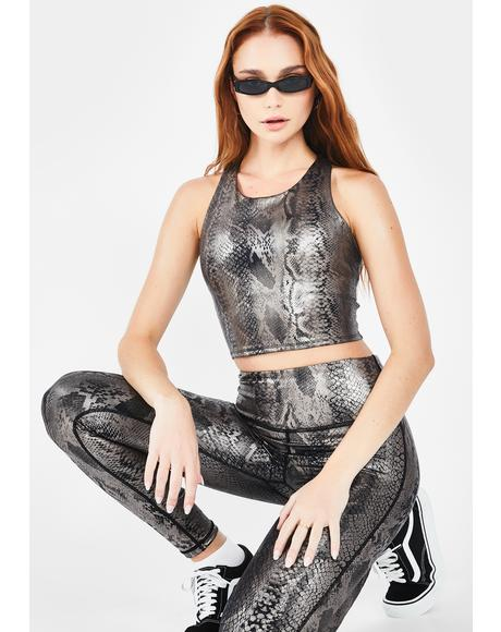 Twisted Temptation Metallic Crop Top