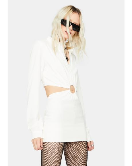 Icy Viral Baddie O-Ring Cutout Mini Dress