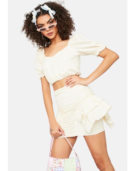 Ivory Hot N Cold Puff Sleeve Ruffle Mini Skirt Set