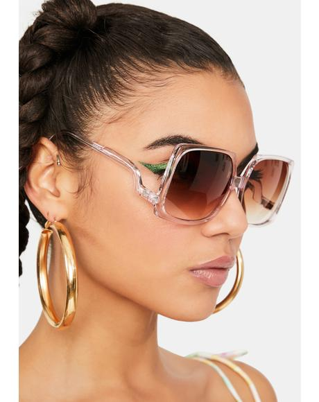 Pink 70s Vibe Oversized Sunglasses