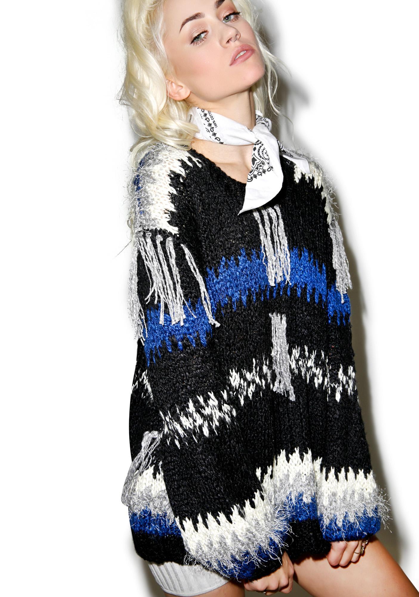 For Love & Lemons Black 'N Blue Crosby Fringe Sweater