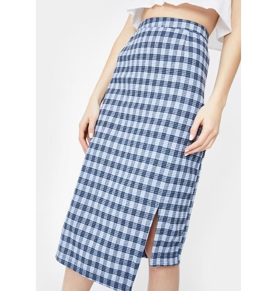 Daisy Street Check Asymmetrical Midi Skirt