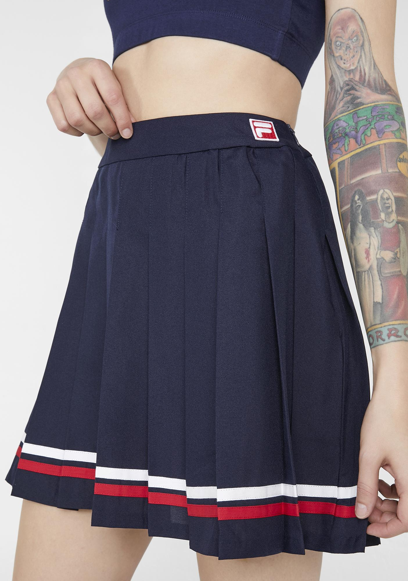 Navy Palma Pleated Tennis Skirt