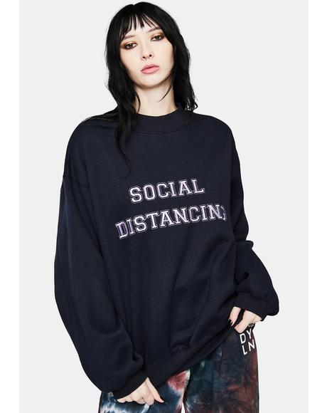 Black Social Distancing Crewneck