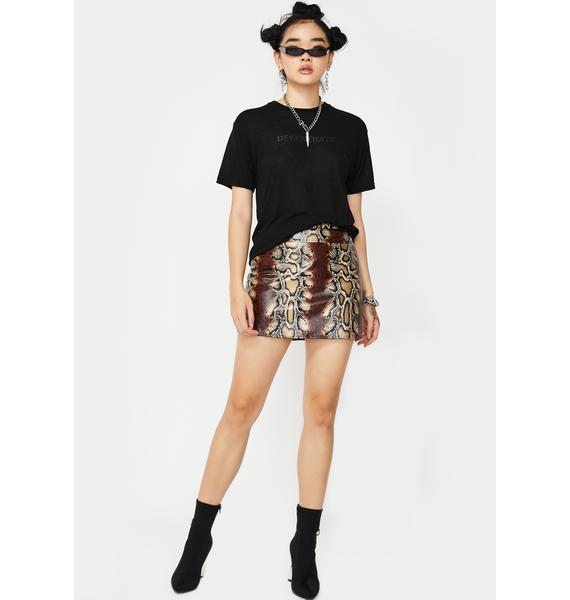 Mocha Venomous Vices Snakeskin Skirt
