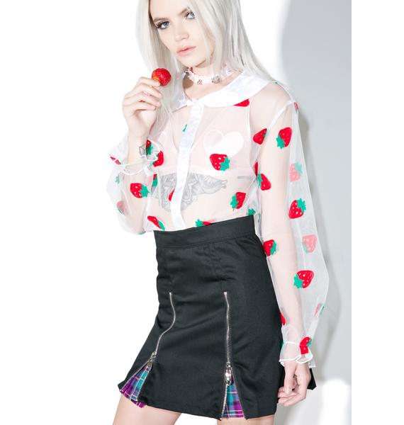 Melonhopper Strawberry Pie Sheer Blouse