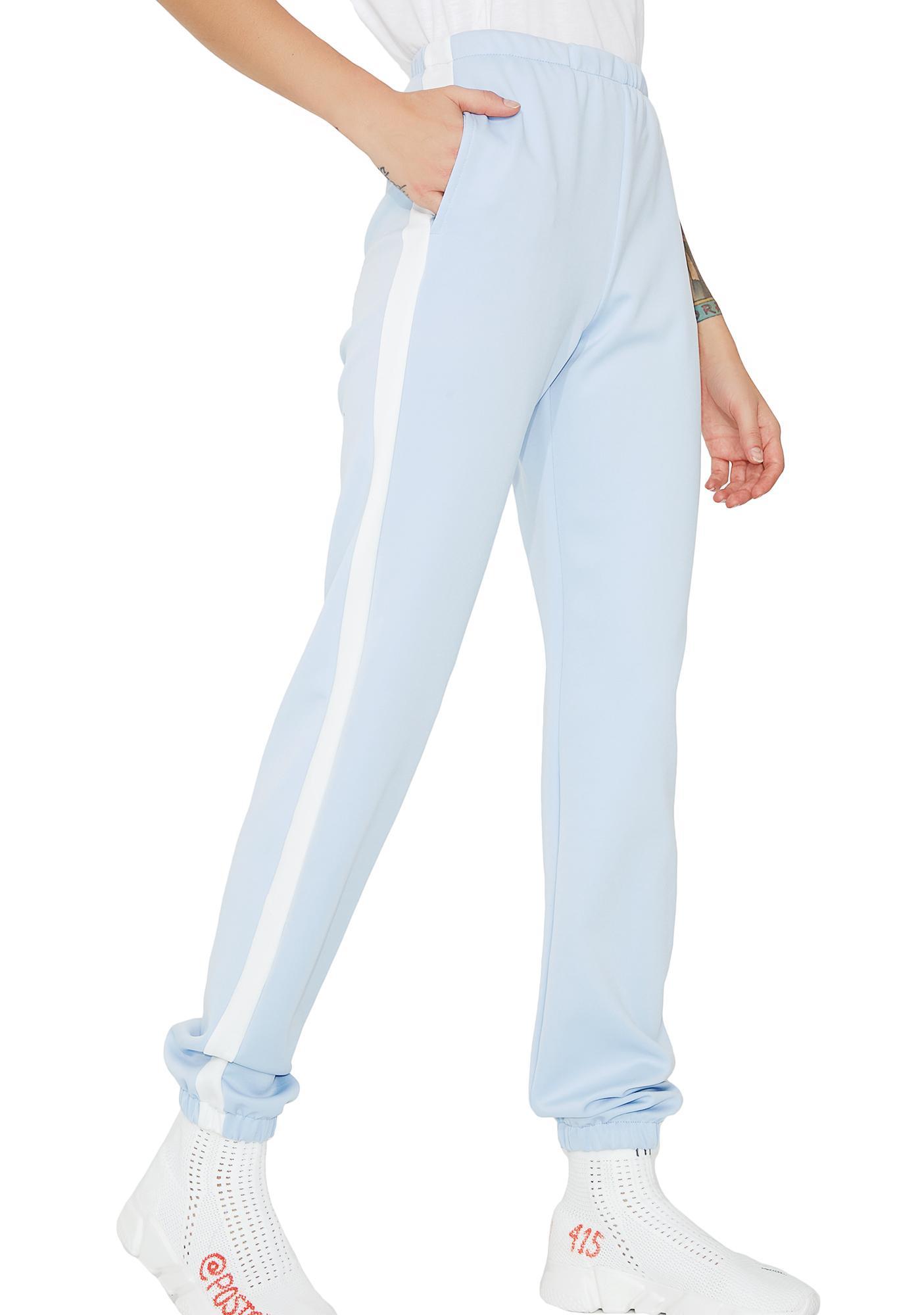 4f72a80a0 Striped Light Blue Jogger Sweatpants | Dolls Kill