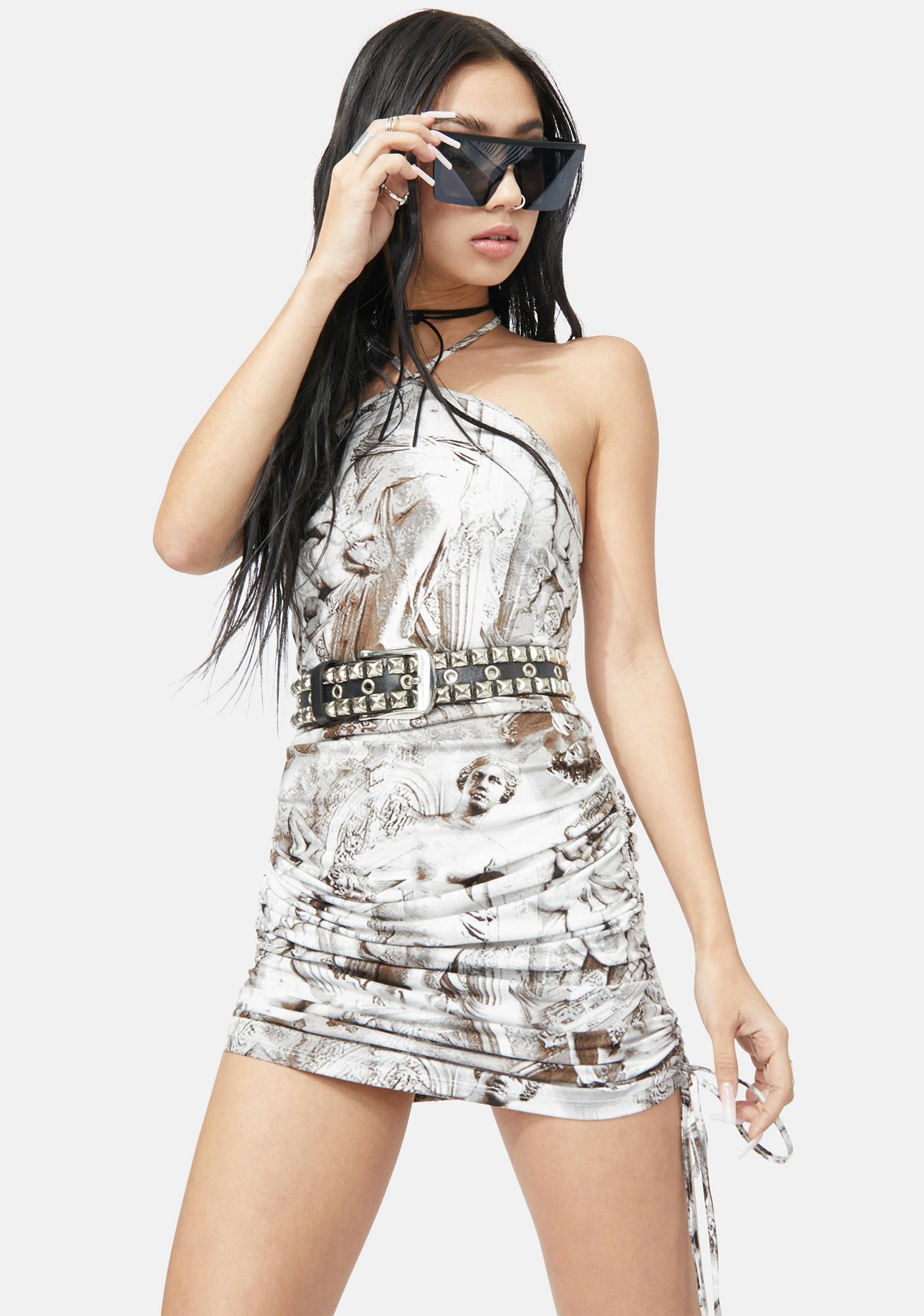 Chiseled Charm Ruched Halter Dress