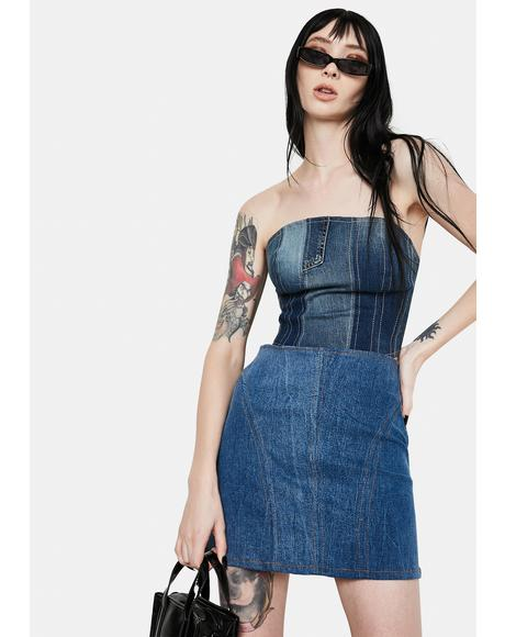 Small World Denim Bustier Top