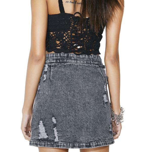 Recover Distressed Mini Skirt