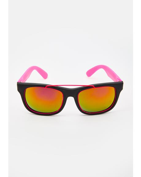 Neon Pink '80s Fun Sunglasses