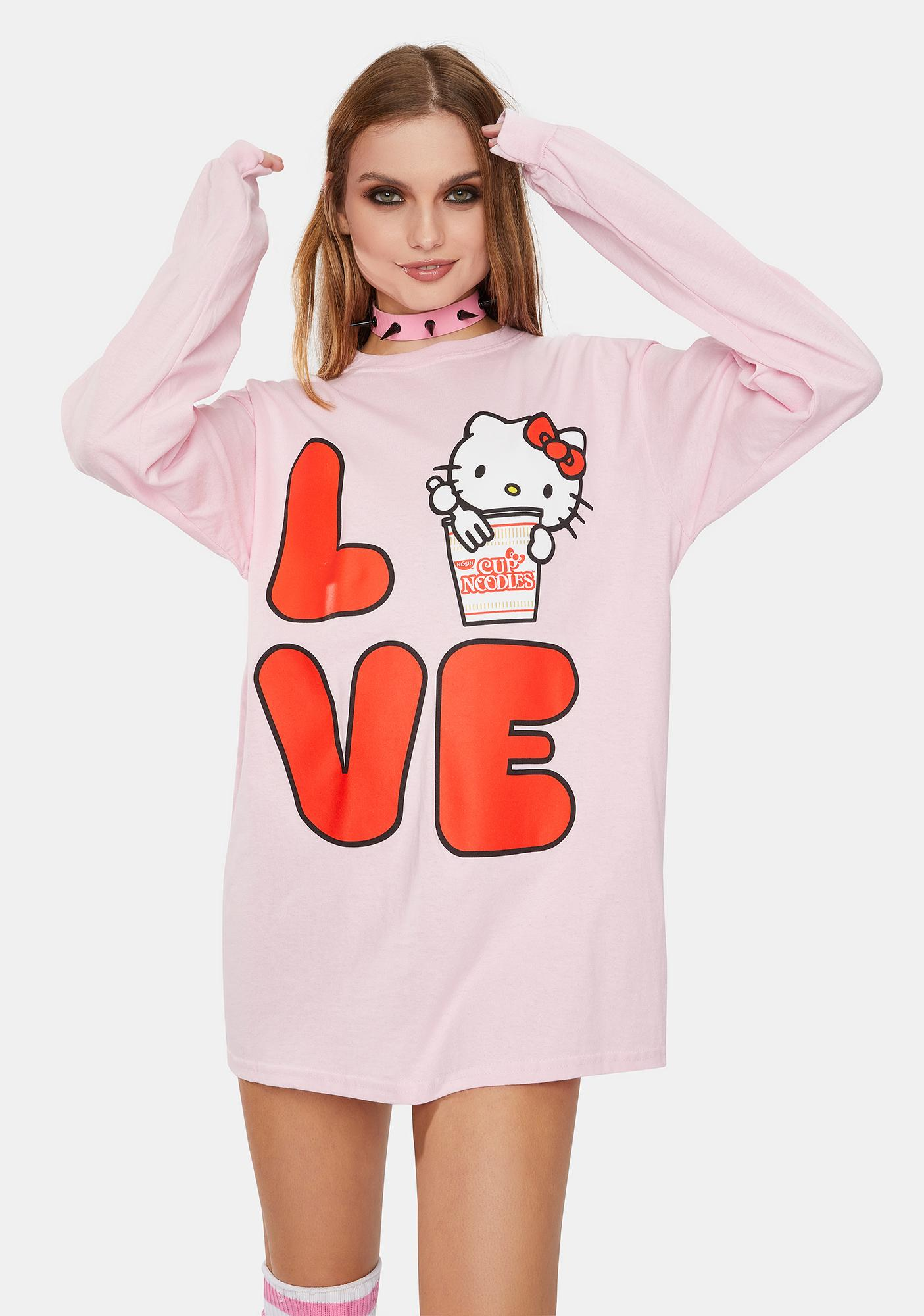 Hello Kitty x Cup Noodles Love Graphic Long Sleeve Tee