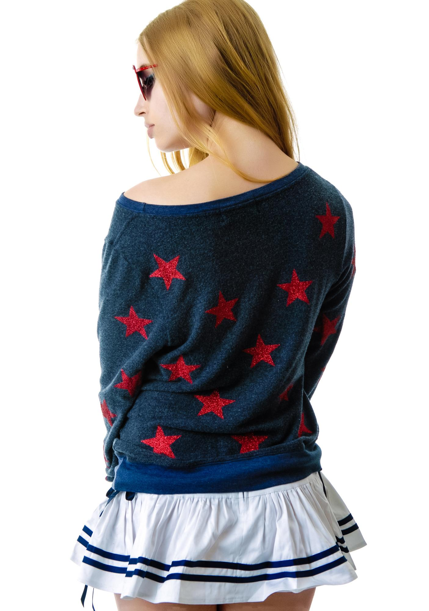 Wildfox Couture Sparkle Starshine Baggy Beach Jumper