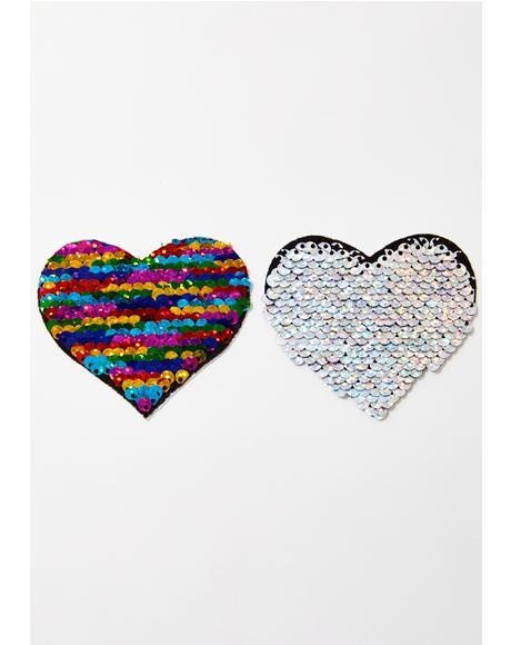 Rainbow Sequin Heart Pasties