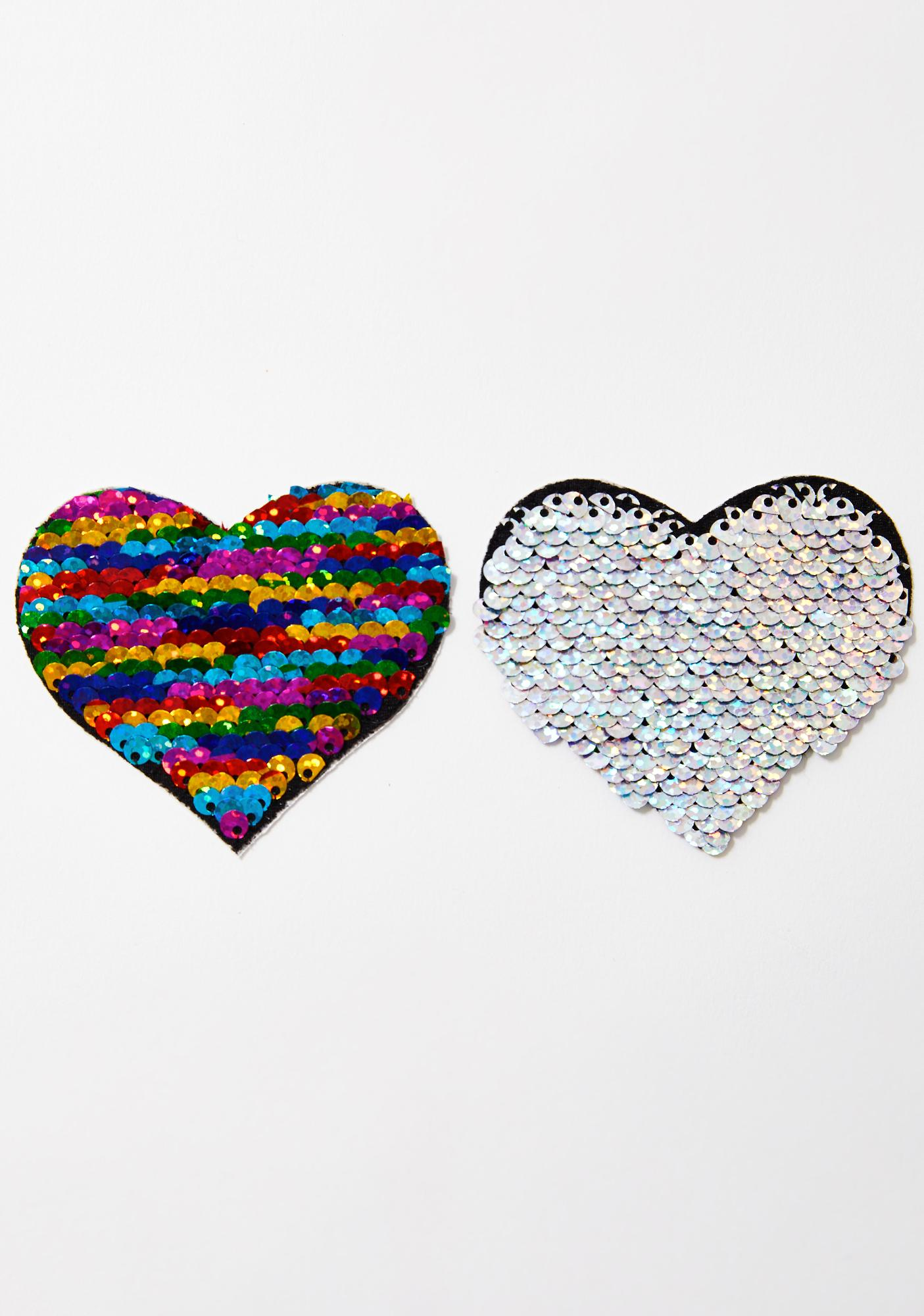 Pastease Rainbow Sequin Heart Pasties