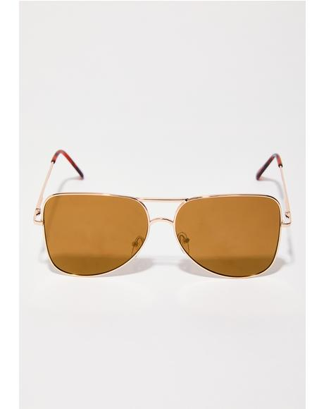 Camel Stay Blocked Square Aviator Sunglasses