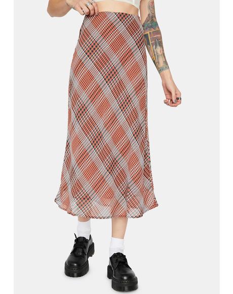 Forgotten Paradise Plaid Midi Skirt