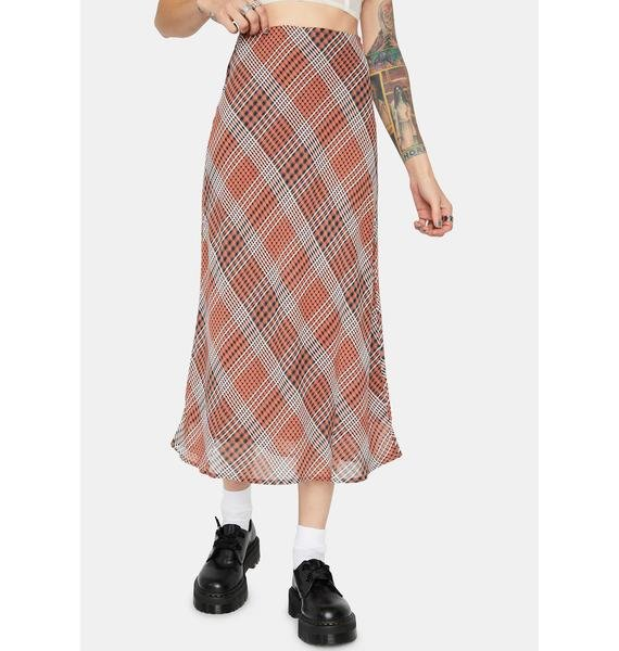 Forgotten Paradise Plaid Midi Skirt