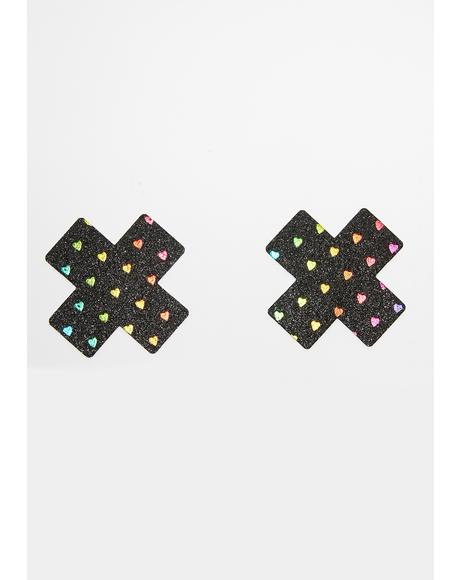 Black Rainbow Heart Cross Pasties