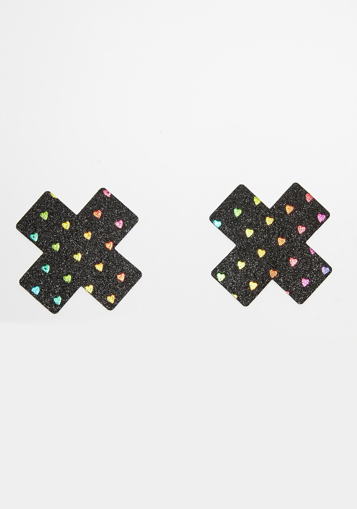 Neva Nude Black Rainbow Heart Cross Pasties