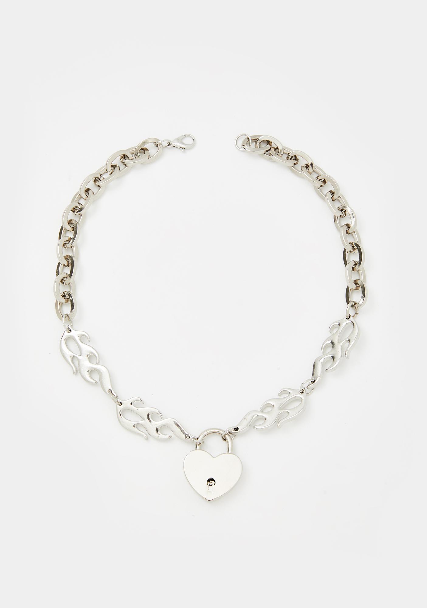 Fiery Desire Lock Necklace