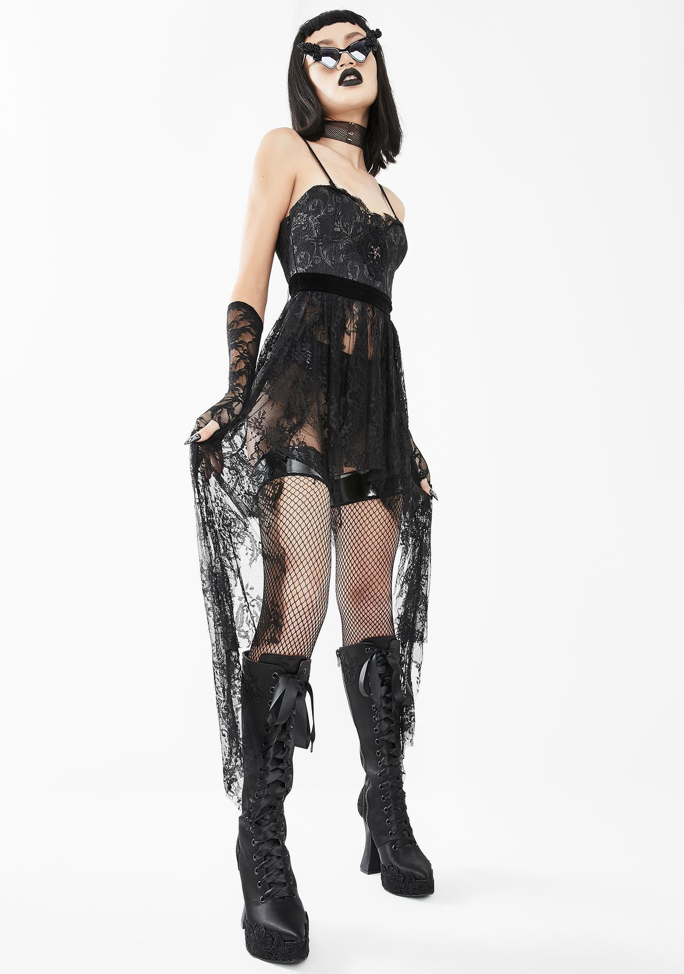 Eva Lady Black Lace Bustier Dress