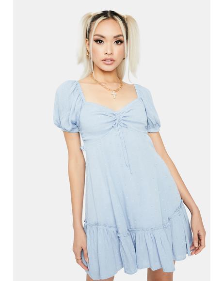 Chambray Stay Peachy Babydoll Dress