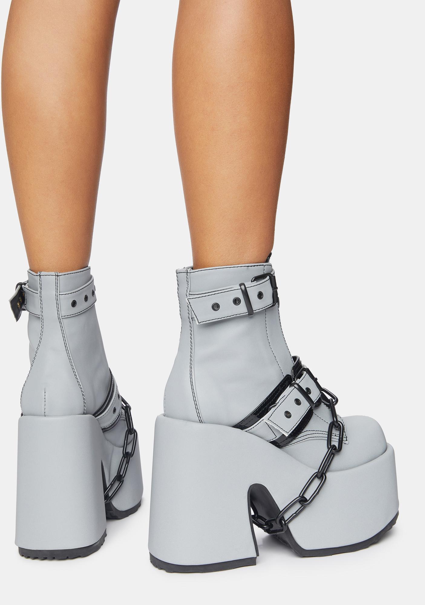 Demonia Glow In The Dark Ruin My Life Platform Ankle Boots