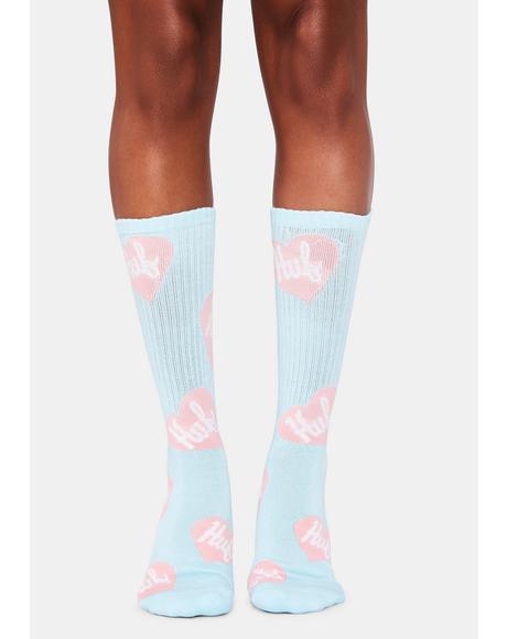 Blue Plastic Hearts Crew Socks