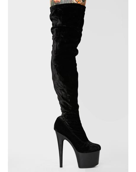 Dark Hustler Baby Thigh High Boots