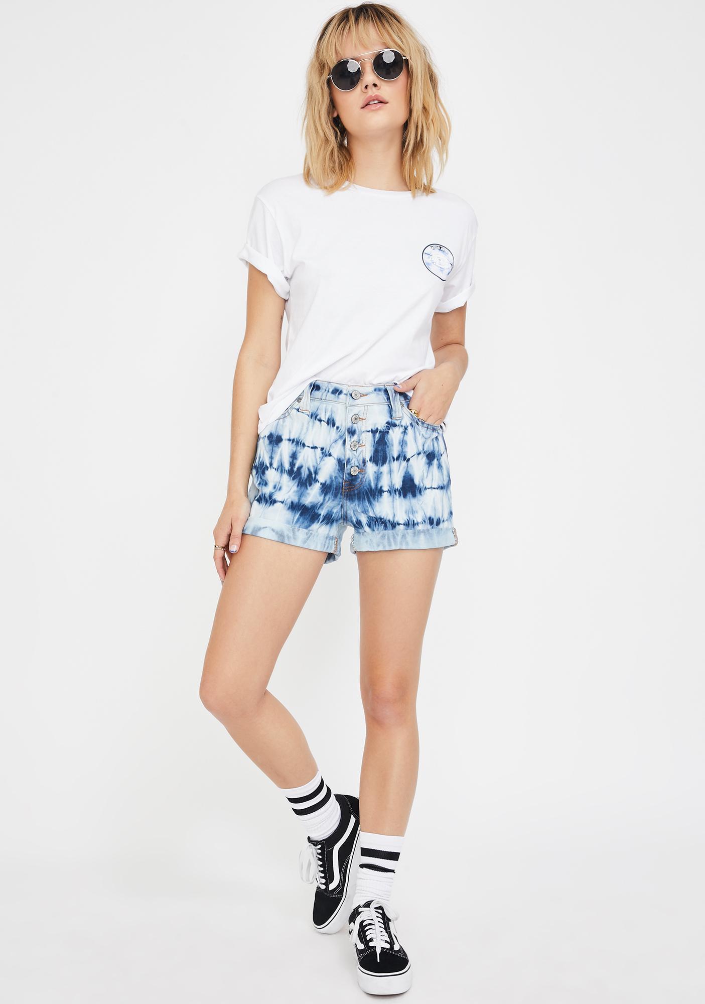 Dickies Girl Navy White Tie Dye Button Shorts