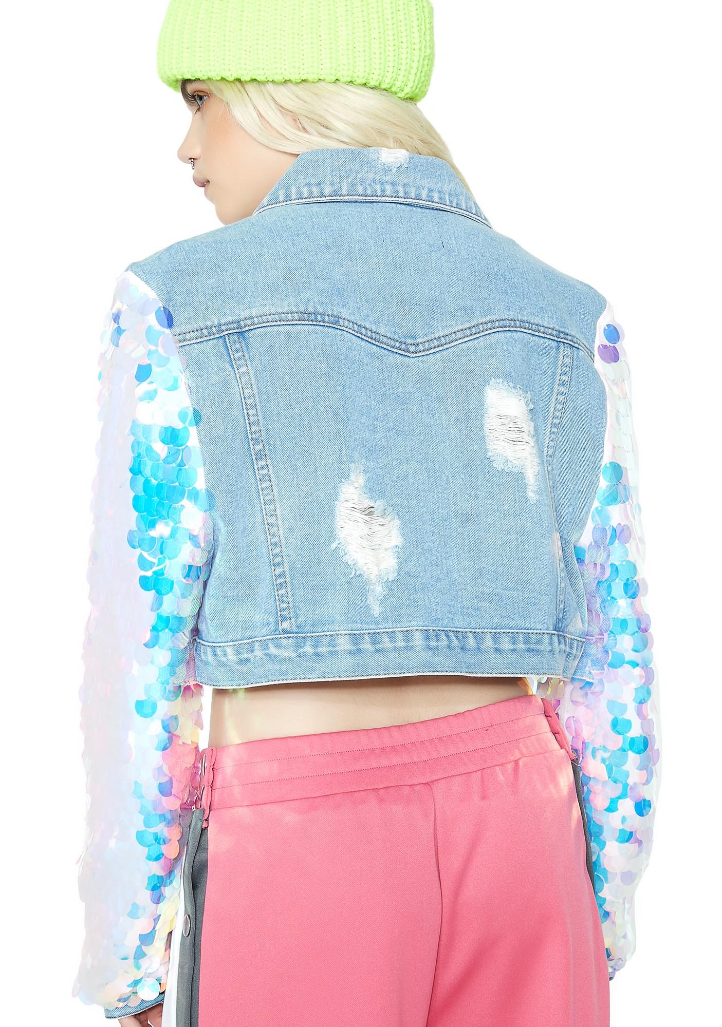 Shimmy Cropped Denim Jacket