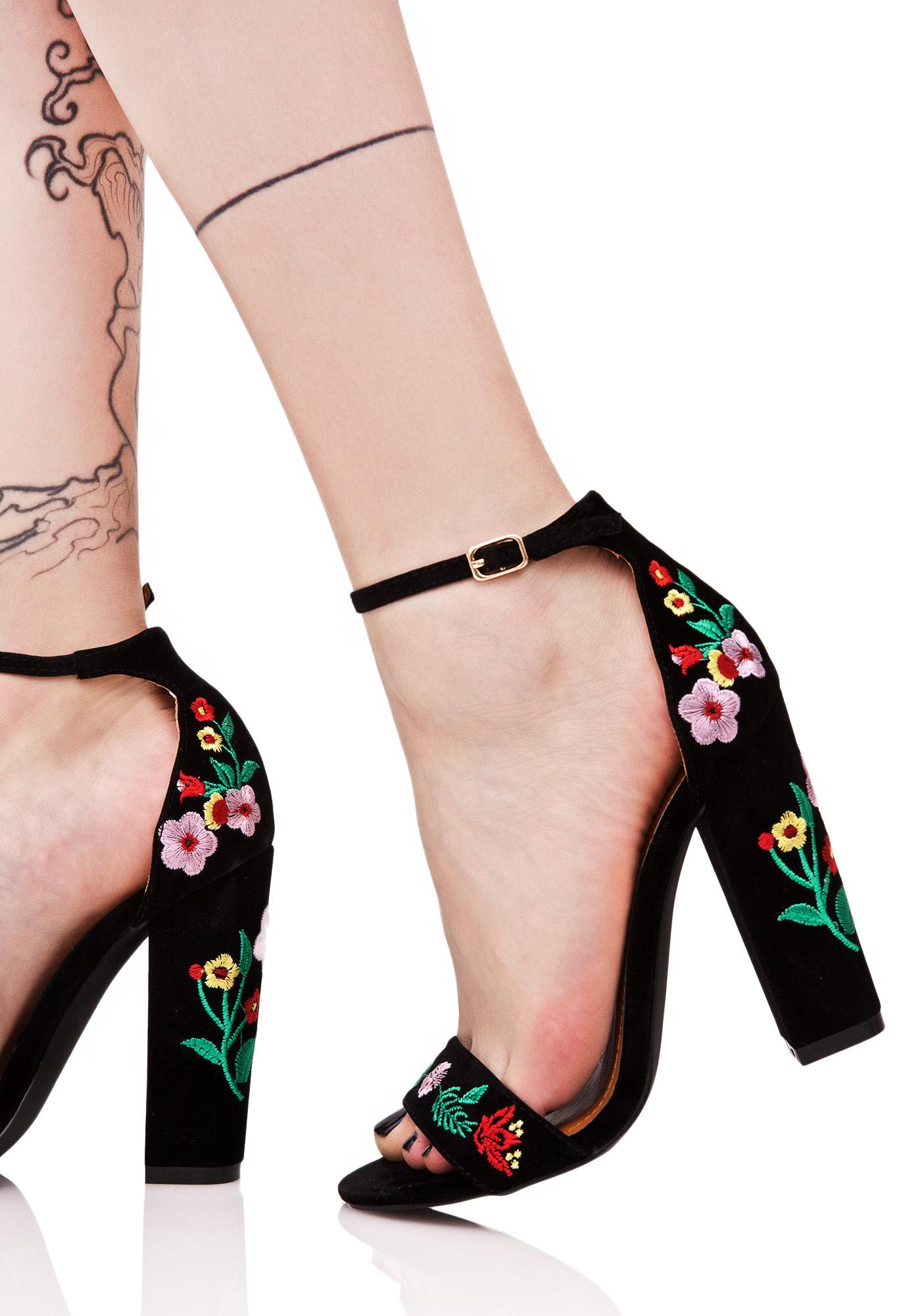9f09ccb3d7c2 Faux Suede Embroidered Folk Heels | Dolls Kill