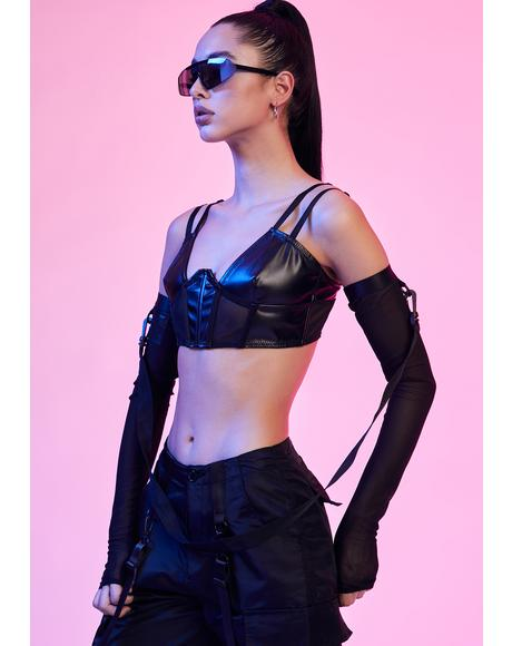 Domme Dot Com Vegan Leather Bra Top
