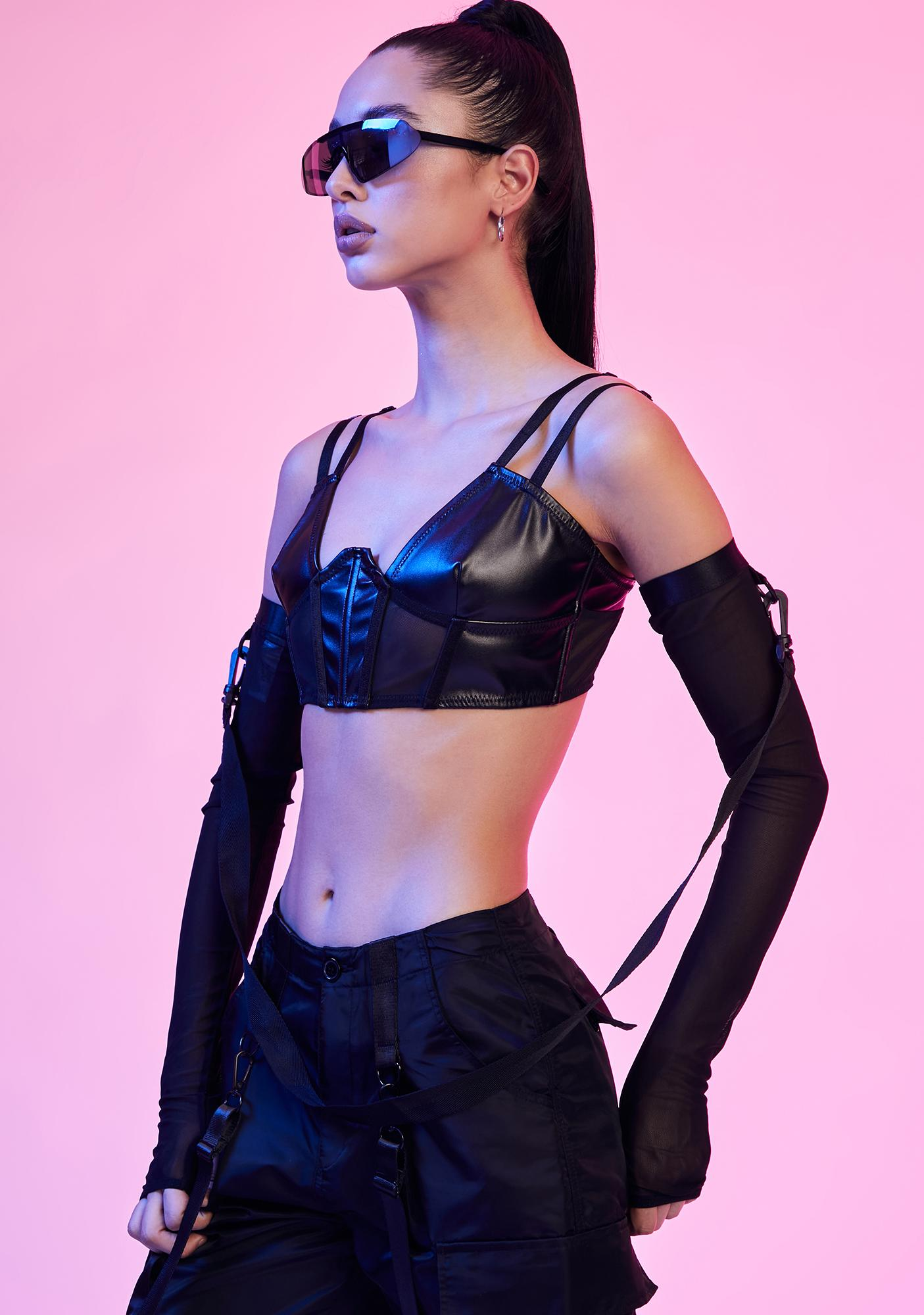 Current Mood Domme Dot Com Vegan Leather Bra Top